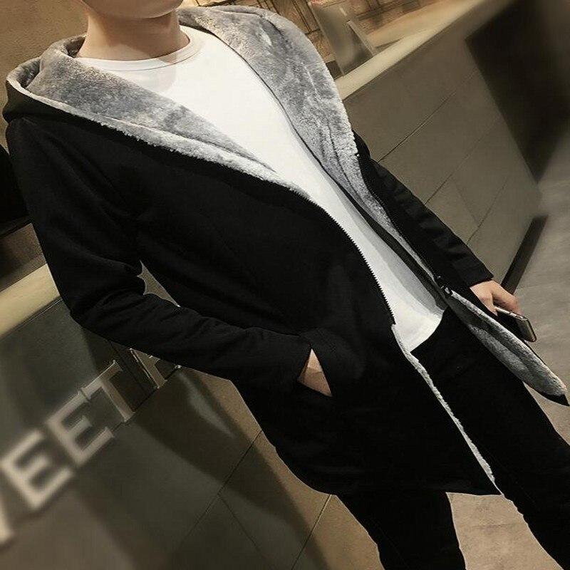 Yeni 2016 Erkek Sonbahar ve kış eklendi daha yün ceket Erkek moda saf renk uzun büyük metre erkek ücretsiz nakliye