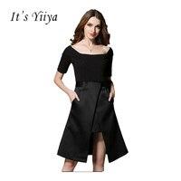 To YiiYa Nowy 2017 Boat Neck Krótkie Rękawy-line Little Black Dress Proste Białe Podkolanówki Sukienki Wizytowe L507
