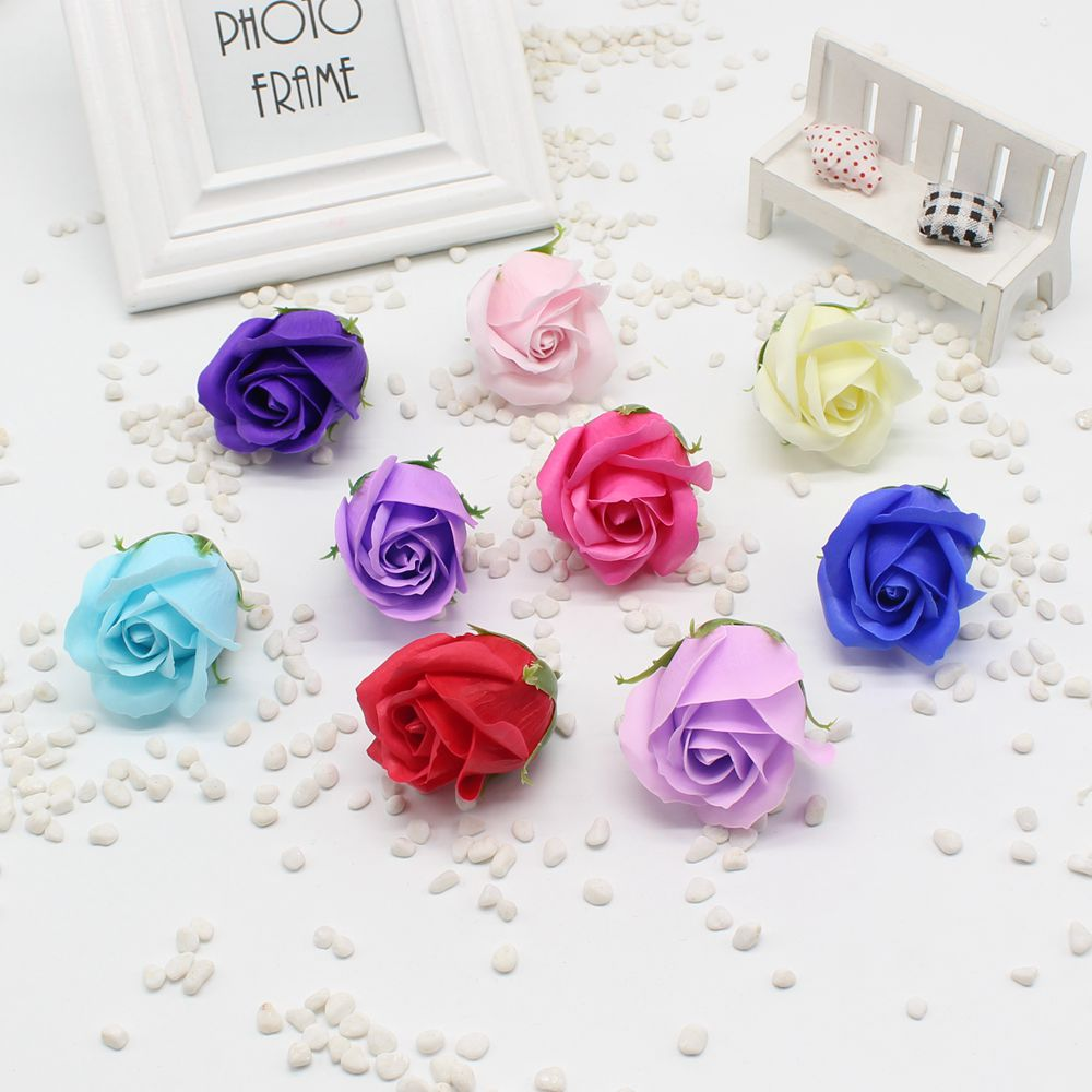 5pcs / lot Cheap soap head romantic rose wedding Valentine's Day gift wedding decoration banquet home artificial flower clip art