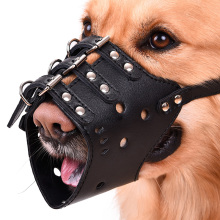 PU Leather Pet Dog Anti-Bite Mouth Cover Adjustable Basket Mask Muzzle Cage Cover Dog Bite Bark Chewing Animal Safety Security