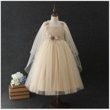 elegant teens flower embroidery dress with cloak girls sleeveless princess party tulle vestido kids fluffy tiered
