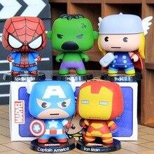 5pcs H-Q The Avengers Q Version Marvel PVC Action Figure Toy Iron Man Captain America Spider Hulk Thor Model As Gift Toy 17cm