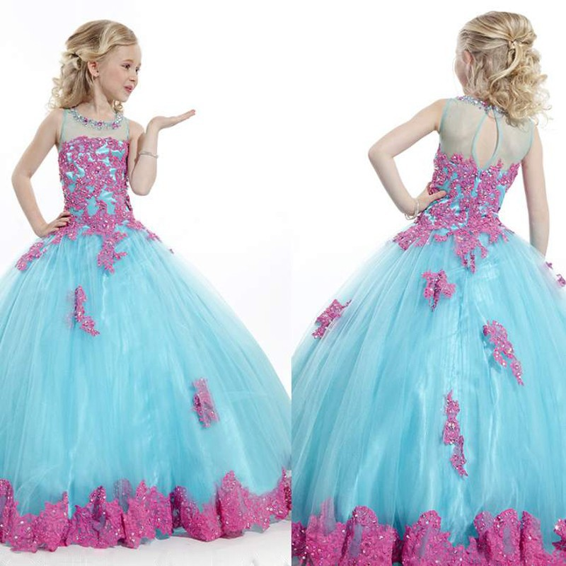 Sarahbridal Elegant Tulle Ball Gown   Flower     Girls     Dresses   With Grace Appliques Luxury Beading Sequined   Girls     Dresses   Fashionabale
