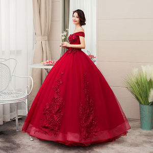 Image 4 - 2020 새로운 부인이 어깨에서 벗어나 럭셔리 레이스 파티 Vestidos 15 Anos 빈티지 Quinceanera 드레스 4 색 Quinceanera 가운 F
