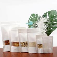 10pcs/lots Matte White Kraft Paper Ziplock Bag Transparent Window Candy Cookie Gift Crafts Bag Packing Bag Pouch Gift Box(China)