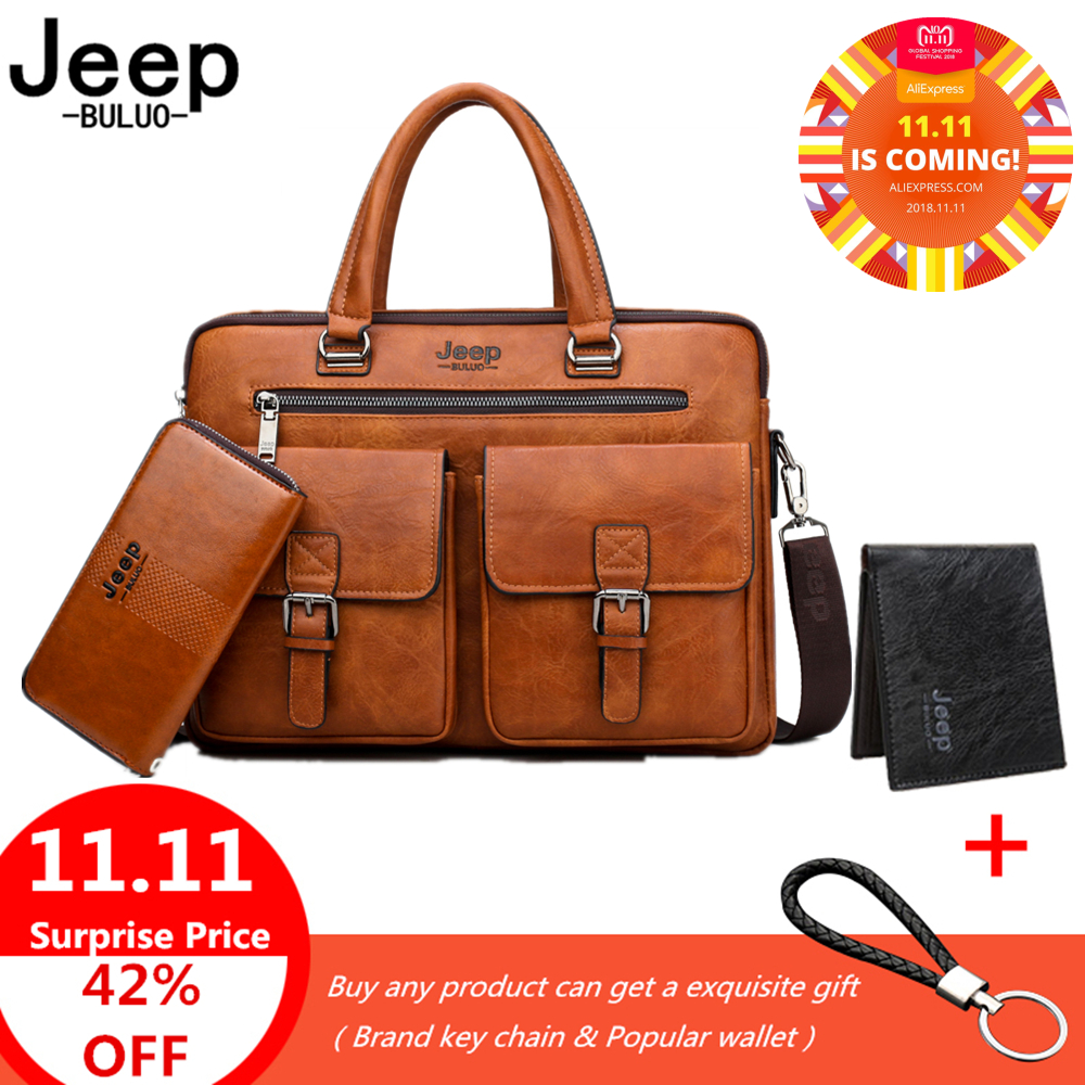 все цены на Jeep Famous Brand Business Briefcase Bag 2pcs/set Split Leather High Quality Men office Bags For 13. 3 inch Laptop A4 Causel
