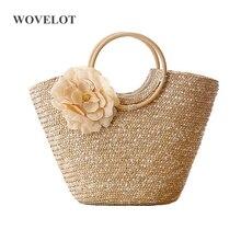 FGGS Для женщин соломы сумка цветок Дизайн тканые летние богемные пляжные сумка Корзина круглая деревянная ручка шоппер