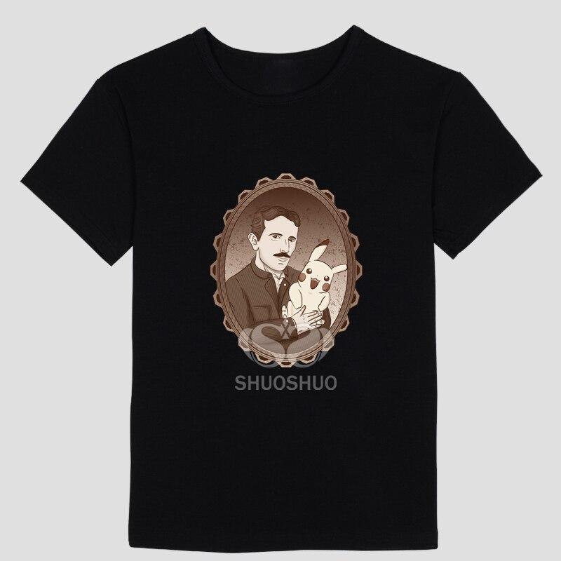Physics DIY Nikola_Tesla Men's short sleeve T-shirt Pure cotton Round collar Pikachu