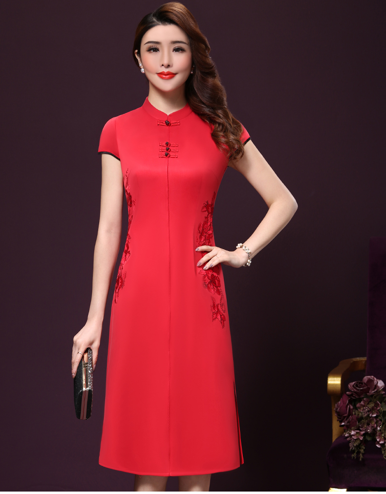Plus size 4XL Chinese Style High-End Silk Vintage Embroidered Summer Dress Women Collar Short-Sleeve One-Step Dress female P168 16