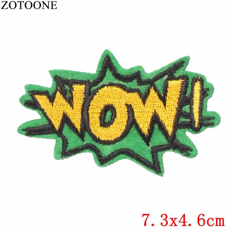 ZOTOONE 1 個鉄上の文字スパンコール衣料用パッチ刺繍アップリケ旗ロゴバッジ Stickes 服 Pvc パッチを