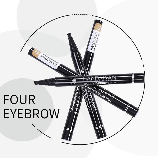 Handaiyan 4 fork tips eyebrow pencil waterpoof long lasting liquid eyebrow tint 5 colors microblading eyebrow tattoo pen HF112 3