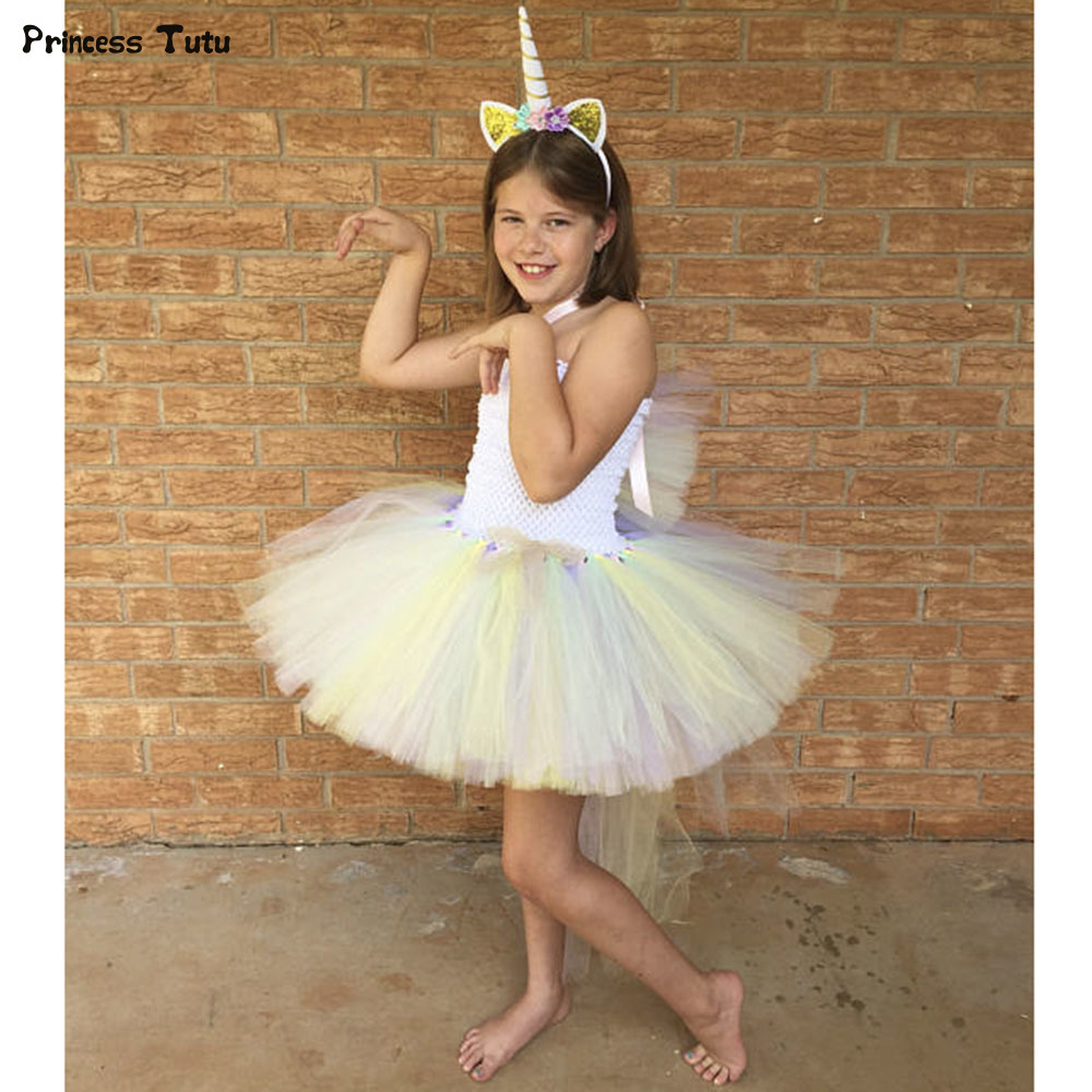Pony Unicorn Kids Tutu Dress Princess Rainbow Girl Birthday Party Dresses Children Girl Christmas Halloween Cosplay Costume 1-14 fancy girl mermai ariel dress pink princess tutu dress baby girl birthday party tulle dresses kids cosplay halloween costume