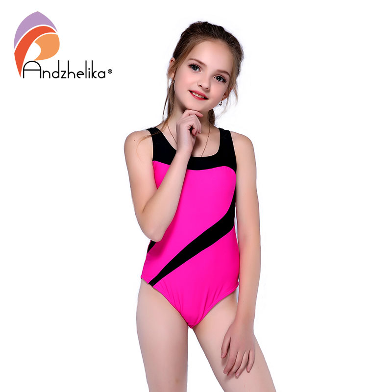 Andzhelika Children's One-Piece Suits Swimsuit Girls Beach Sport Bodysuit Solid Patchwork Kid Bathing Suit Girl Monokini AK81774(China)