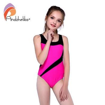 Andzhelika 子供のワンピーススーツ水着女の子ビーチスポーツスーツソリッドパッチワーク子供水着ガールモノキニ AK81774