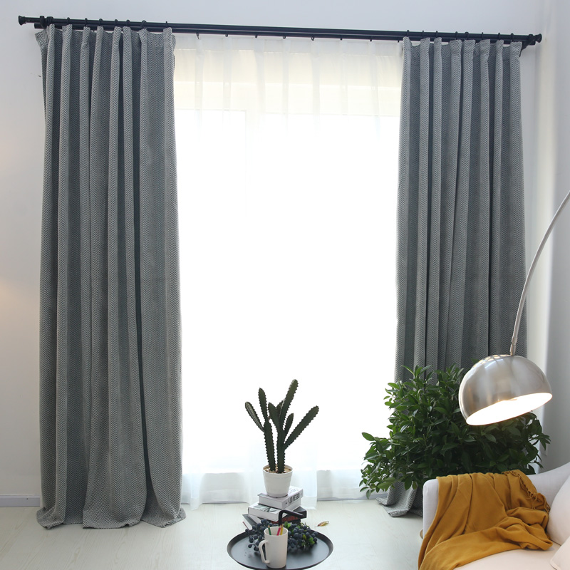 Shade full living design room home geometric curtains short blackout Chenille window curtains modern panel