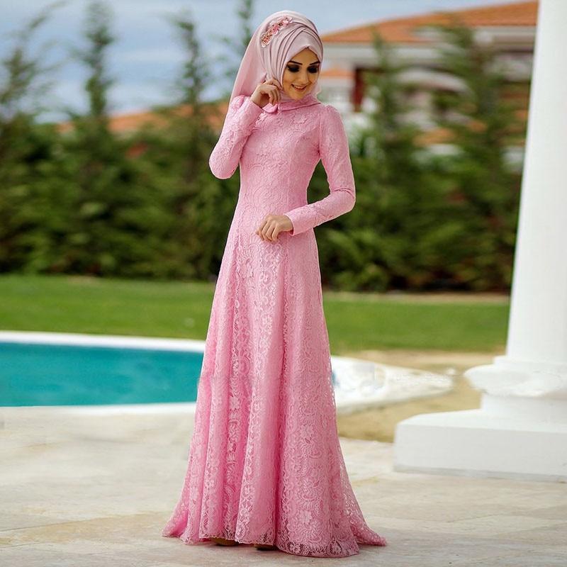 New Pink Lace Long Sleeve Muslim Formal Evening Dress Pink Hijab ...