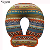 Vegou Geometric Patterns U Shaped Travel Eye Massage Pillow Neck Car Travel Cushion Christmas Gift Foam Pillows For Body rest