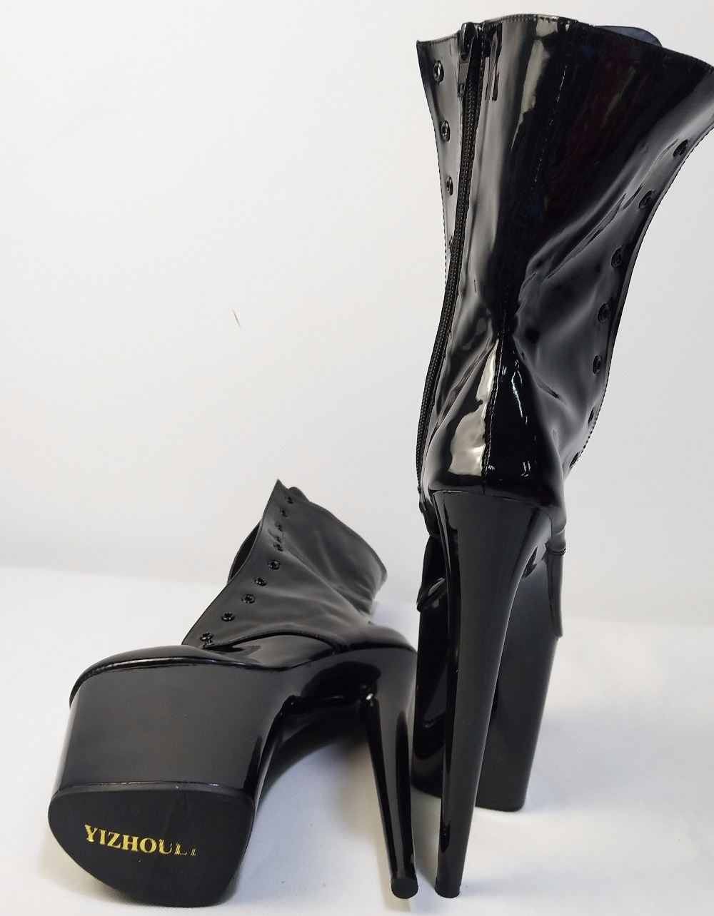 Busana Seksi Ksatria Wanita 8 Inch Tinggi Heel Platform Ankle Boots Qampampq Resin Analog Jam Tangan Hitam Strap Karet Vq04j010y C011 6