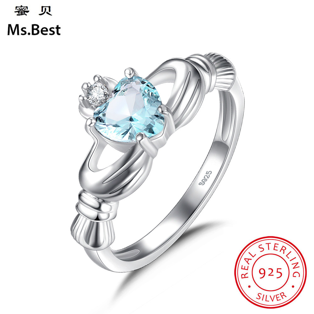 Fine 925 Sterling Silver Claddagh Rings anniversary Statement Rings for women with Aquamarine Blue Heart Stone Birthday Gift