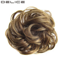 DELICE Girls Curly Scrunchie Chignon With Rubber Band Brown Blonde Synthetic Hair Ring Wrap For Hair Bun Ponytail
