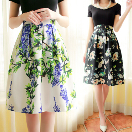 Aliexpress.com : Buy Quality Floral Print High Waist Pleated Long ...