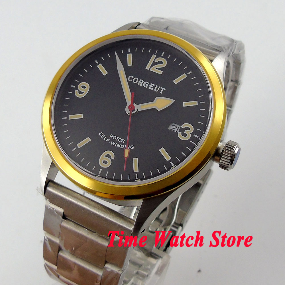 41mm corgeut black dial luminous sapphire glass gold bezel 20ATM MIYOTA Automatic men's watch cor66 купить недорого в Москве
