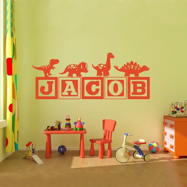 Boys Dinosaur Blocks Name Monogram Wall Decal Nursery Room Kids - Monogram wall decals for nursery