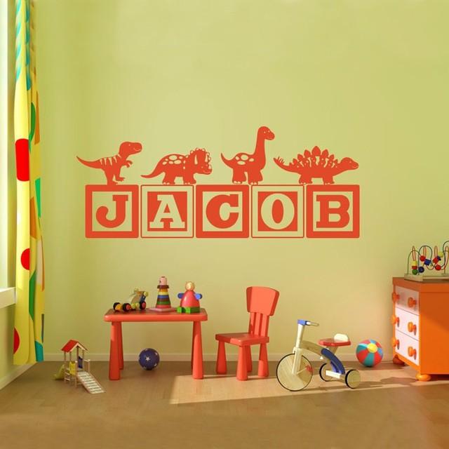 Boys Dinosaur Blocks Name Monogram Wall Decal Nursery Room Kids - Monogram wall decal for nursery