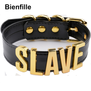 Image 2 - Fashion Gold Men Necklace Women Girl  Slave Name Word  Collar Buckle Necklace Black PU Leather Kawaii Jewelry