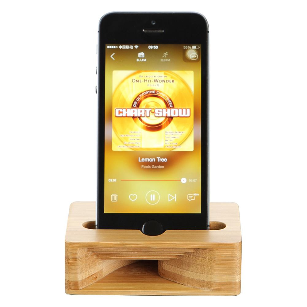 Wood Phone Holder Stand for iPhone 7 7S 6 6S Natural Wooden Loudspeaker Mobile Phone Holder Stand for iPhone 6 6s 7 7S