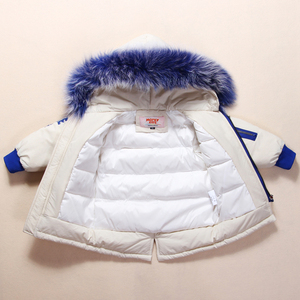 Image 2 - New Russian Winter Clothes for Baby Boys Girls 1 4years Children Down Suit Genuine Fur Collar Kids Down Jacket Girls Winter Coat