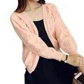 Корейский элегантный открыть стежка кардиган женский свитер короткий трикотажные кардиганы для женщин свободные весна осень пальто аппликация шаль