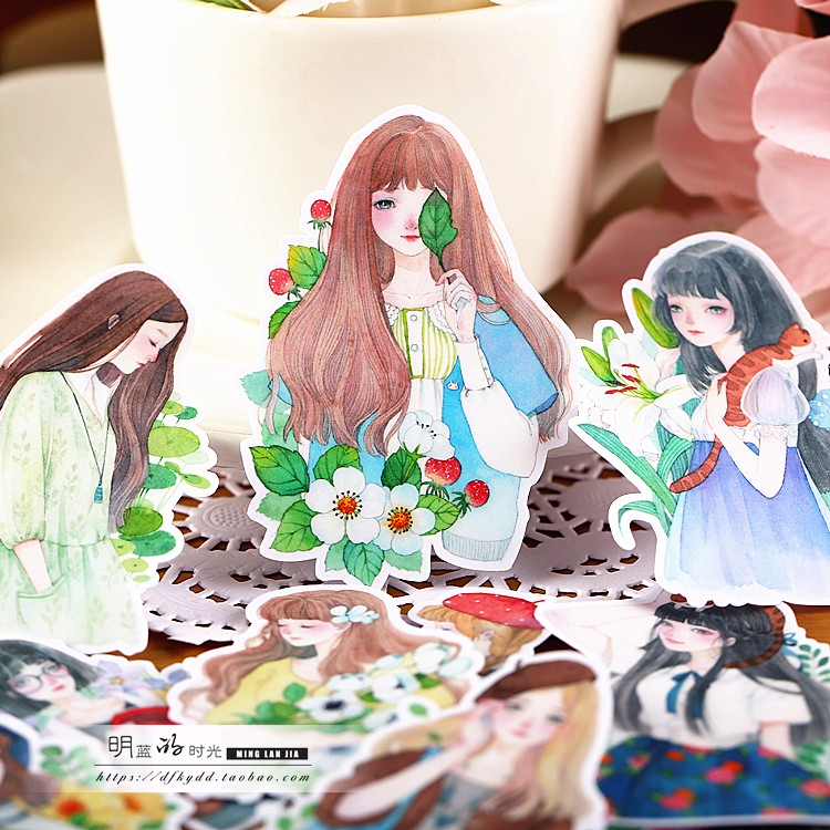 15pcs / lot Accounts around the hand-made self-stickers transparent package stickers Sen female flowers season wrap around sizing label 33x32 250 stickers