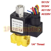 Free Shipping 1/4 Inch Brass Solenoid Valve 12V DC Electric Air Water Gas Normally Open DC24V,AC110V or AC220V