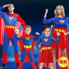 Дети супермен костюм кабо потому костюм маскарад спектакли из взрослых мужчин и женщин одежда супермен семья установлены