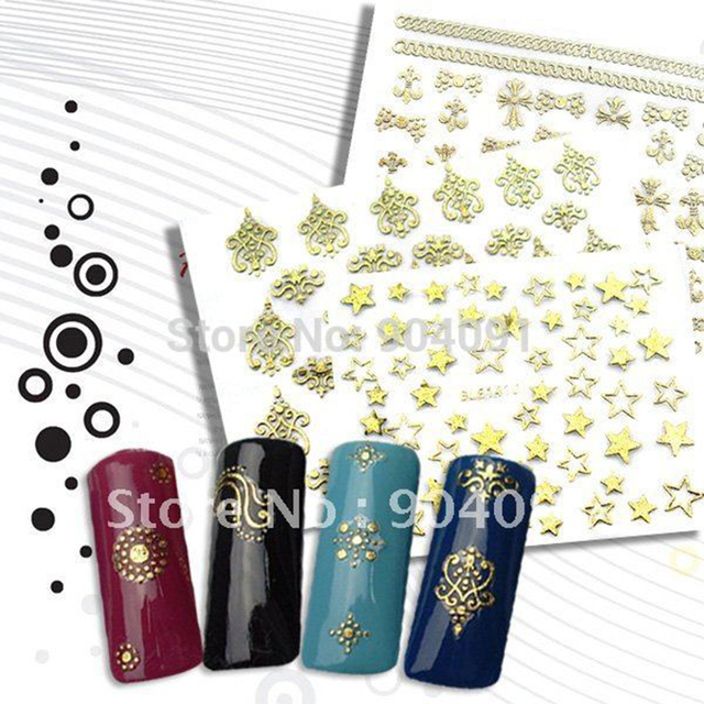 New arrival 20Sheet/LOT nail art design 3D nail stickers,3D Golden series with golden color 36 style+own individually packaging