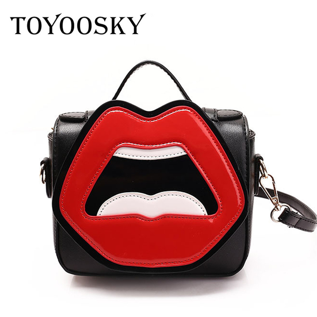 de5c08d18ae9 TOYOOSKY Summer Women Messenger Bags Flap Bag Lady Funny Cartoon Mouth  Printed Crossbody Shoulder Bags Small Female Handbags