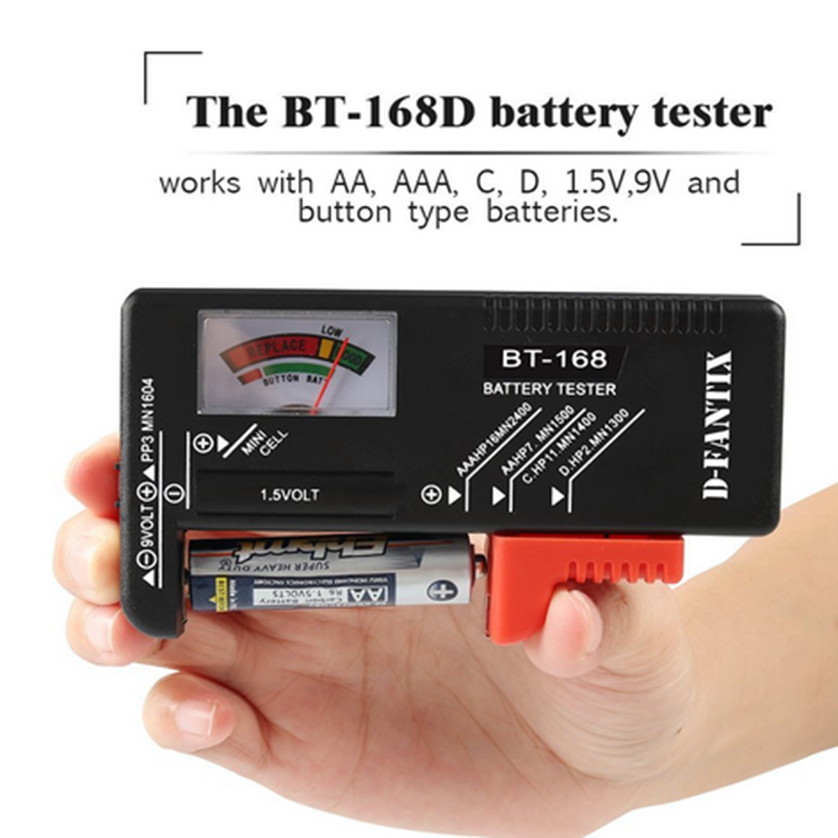 BT168 Digital Battery Tester Universal Electronic Battery Checker AA AAA 9V Button Cell Multi Size Battery Tester BT168D in Battery Testers from Tools