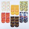 1Pair Fashion Beautiful Women's 3D Digital Emoji Print Breathable Stretchy Low 100% Cotton Ankle Socks Lover Gift 2016 New
