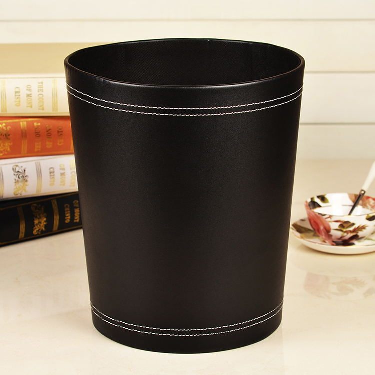 High Grade 12liters Round Leather Wood Waste Basket Home