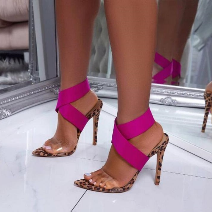 Sexy Leopard Heels Women Sandals Cut-out Pink Elastic Band Clear PVC Strap Gladiator Sandals Shoes Women 2019 Banquet PumpsSexy Leopard Heels Women Sandals Cut-out Pink Elastic Band Clear PVC Strap Gladiator Sandals Shoes Women 2019 Banquet Pumps