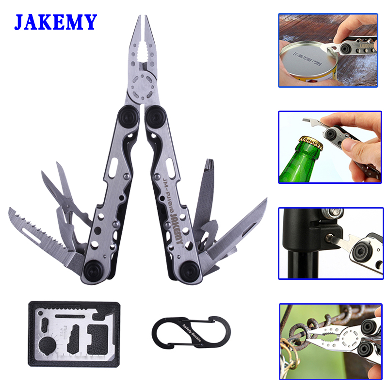 JAKEMY Combination Pliers Knife Scissor Hunting Survival Tools Hiking Fishing Multi Tool EDC Pliers Multitool Ferramentas new arrival silver color multitool pliers replaceable jaw design multitool combination pliers sheath screw