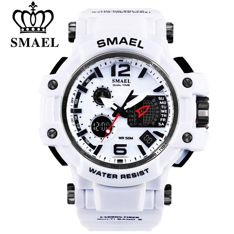 SMAEL Marque Hommes Quartz montre de sport de montre digitale Hommes S Choc Mâle Horloge montres pour hommes led montres-bracelet étanches 1509
