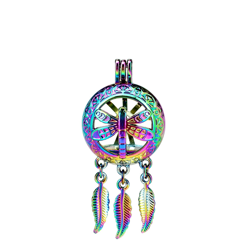 Creative C895 5pcs/lot Rainbow Color Beaty Dream Catcher Dragonfly Flower Round Ball Leaf Cage Pendant Pearl Locket Fairytale Party Relieving Heat And Thirst. Jewelry & Accessories Pendants