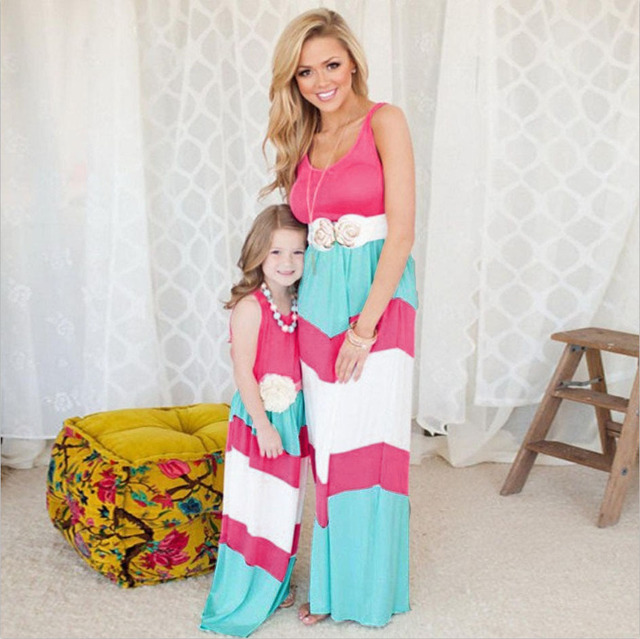 1f6780c19650b US $10.64 29% OFF|2017 Newest Family Matching Dress Summer Hot Pink  Colorful Stripe Mother and Daughter Girl Mommy And Me Beach Bohemia Maxi  Dress-in ...