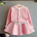 New 2017 Baby Girl Autumn Spring Set Baby Girl Clothes Bird Cardigan + Short Skirt Set Girl Party Dress Children Clothing Set