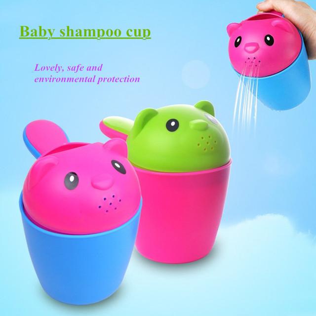 2016 Novo padrão de lavar o cabelo do Bebê Banho copo copo colher De Banho Chuveiro fiador copo De Plástico PP
