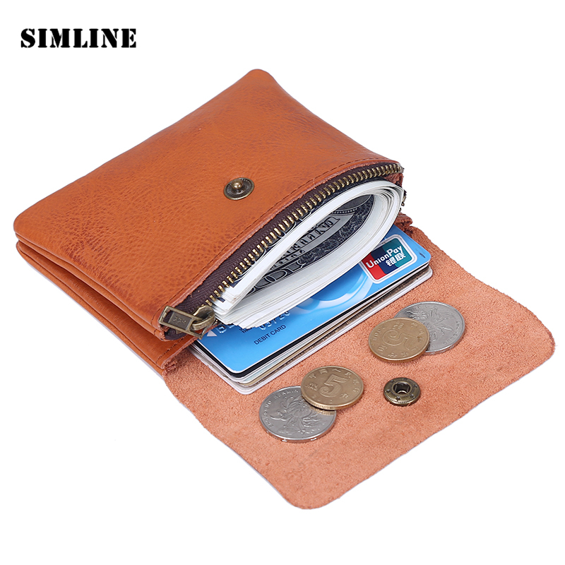 Vintage Genuine Leather Cowhide Men Women Short Mini Small Wallet Wallets Coin Purse Pocket Zipper Card Holder Man Women's Purse baellerry small mens wallets vintage dull polish short dollar price male cards purse mini leather men wallet carteira masculina
