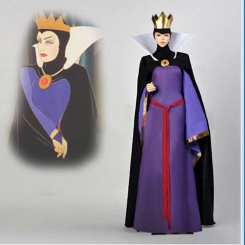 Blanche neige mal reine belle-mère Costume robe tenue Halloween Cosplay adulte avec couronne