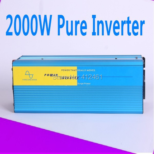 4000W Watts Peak Real 2000W 2000 Watts Power Inverter pure sine wave inverter 24V DC to 220V AC + Free shipping
